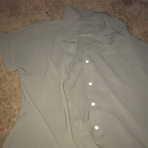 Army green button up t-shirt